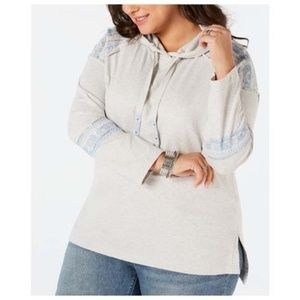 Style & Co Plus Size 1X Cotton Embellished Hoodie